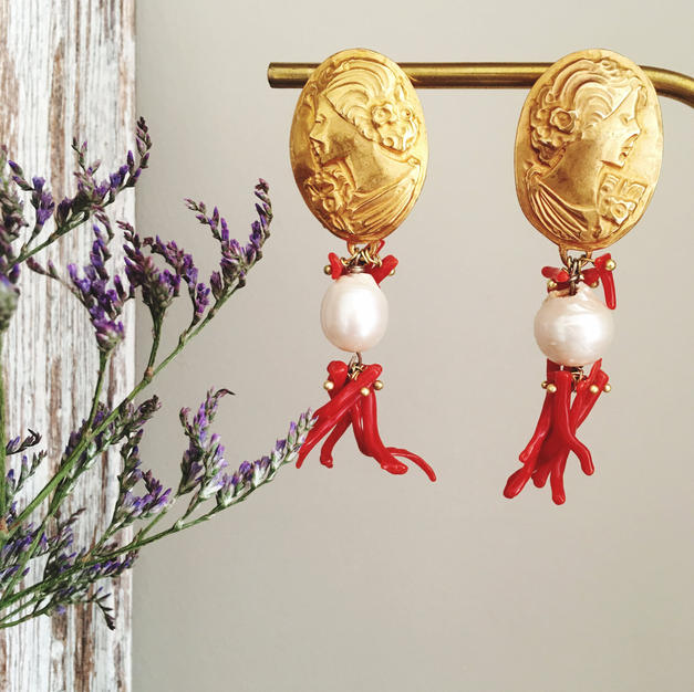 Brass Cameo Earrings