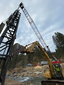 Driving Pile with Excavator Support