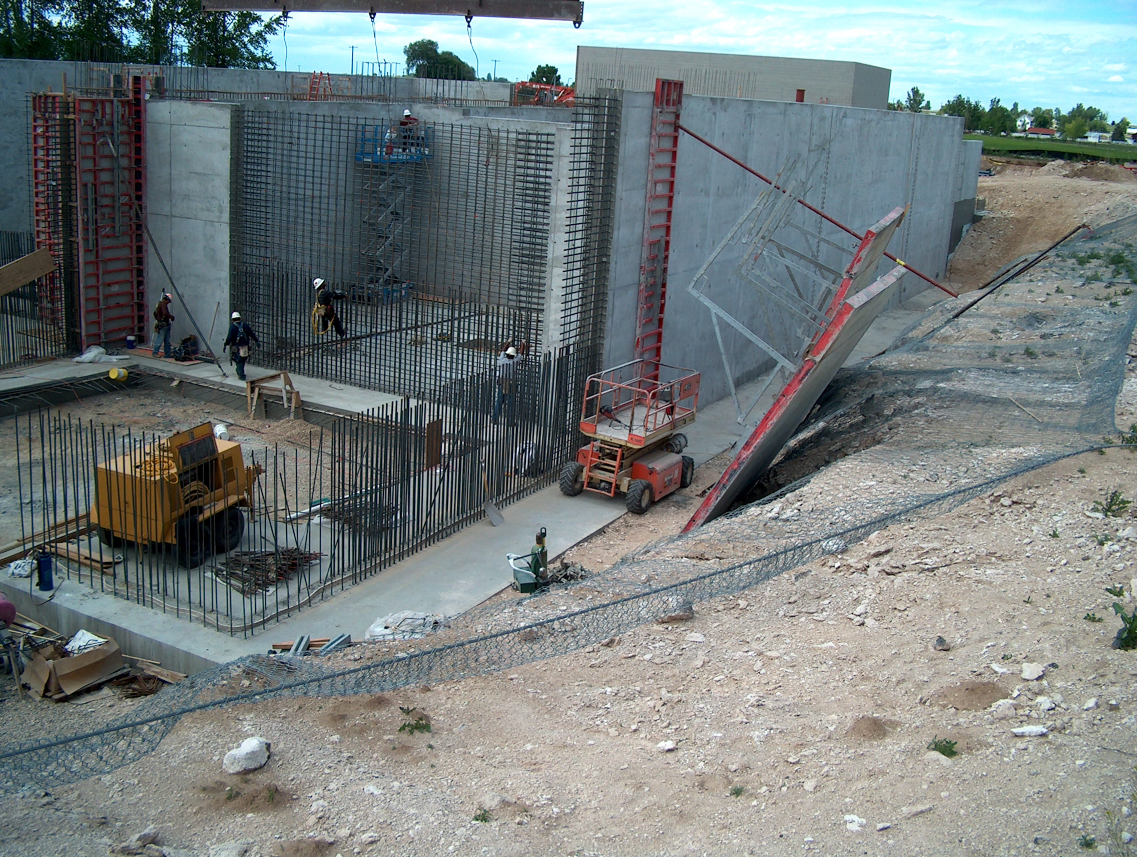 Deep concrete foundation