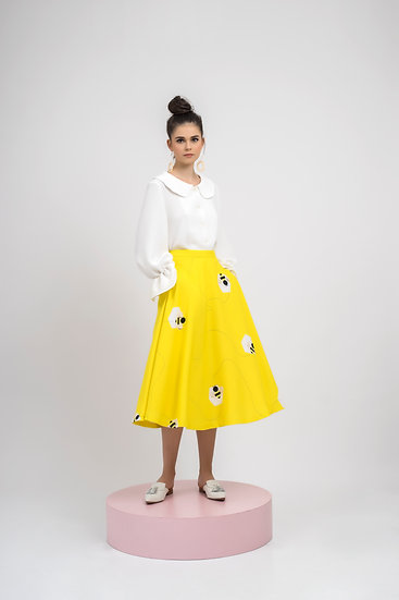BEE FLARE SKIRT-YELLOW