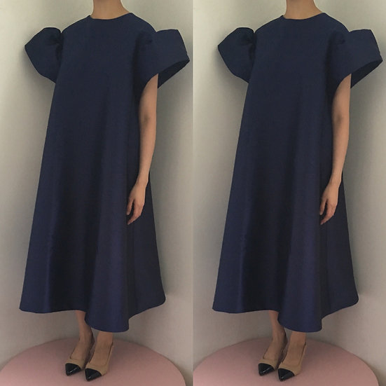 MAXI POLY DRESS - NAVY BLUE