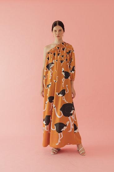 ONE SHOULDER OSTRICH DRESS
