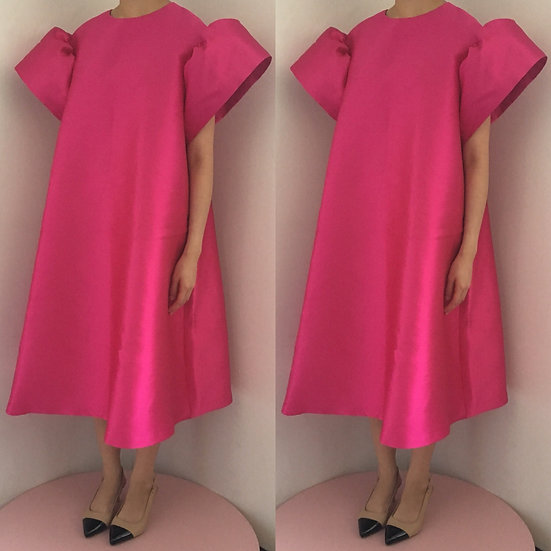 MAXI POLY DRESS - FUSCHIA