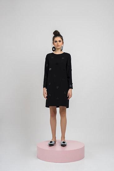 BEE EMBELLISHED DRESS - BLACK