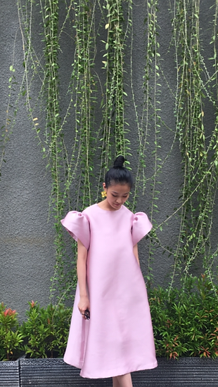 MAXI POLY DRESS - DUSTY PINK