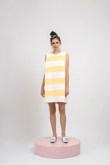 STRIPES BOXY DRESS - YELLOW