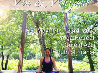 """Vin & Vinyasa"" returns! Yoga Retreat in the Côte d'Azur, South of France, May 17th-23rd, 2020!"