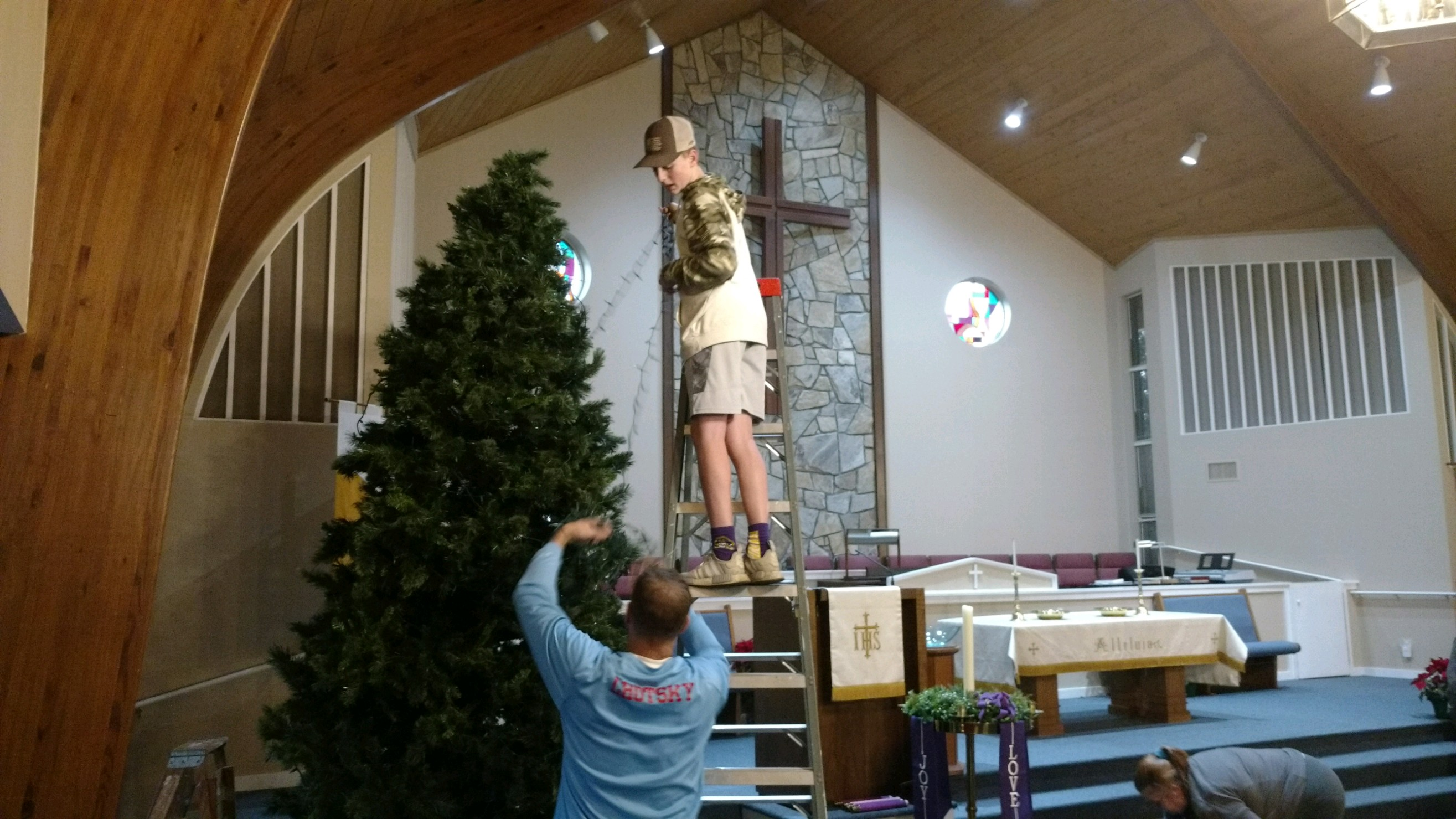 Setting up the Christmas Tree