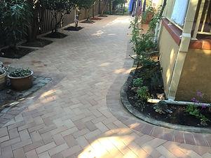Stylish Backyard with Herringbone patter
