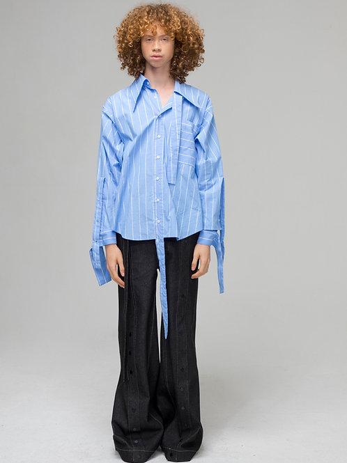 Twist Sleeves Pin Striped Shirts