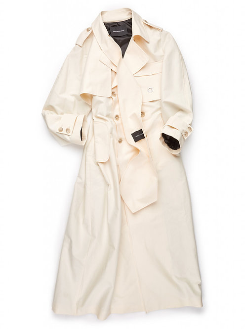 TIE COLLAR LONG TRENCH COAT