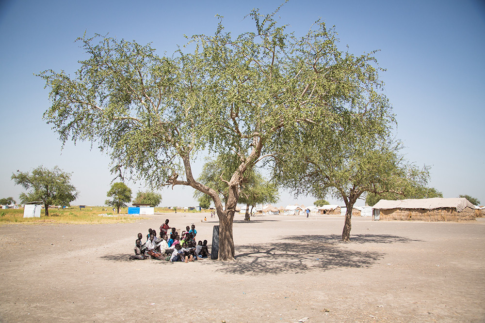 Local South Sudanese villagers sitting under a tree in the shade.
