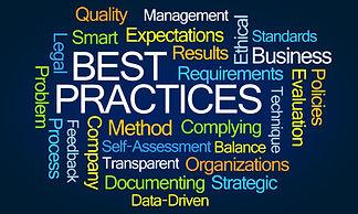 Best Practices Word Cloud on Blue Backgr