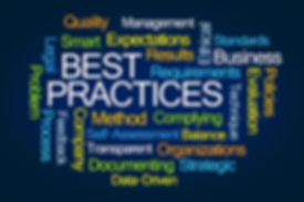 Best Practices Word Cloud on Blue Backgr