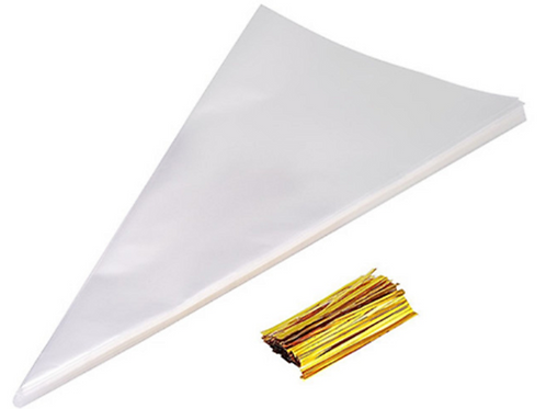 Large Cone Bags with Gold Ties