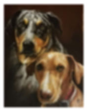 doreena two dogs portrait art 11x14 for