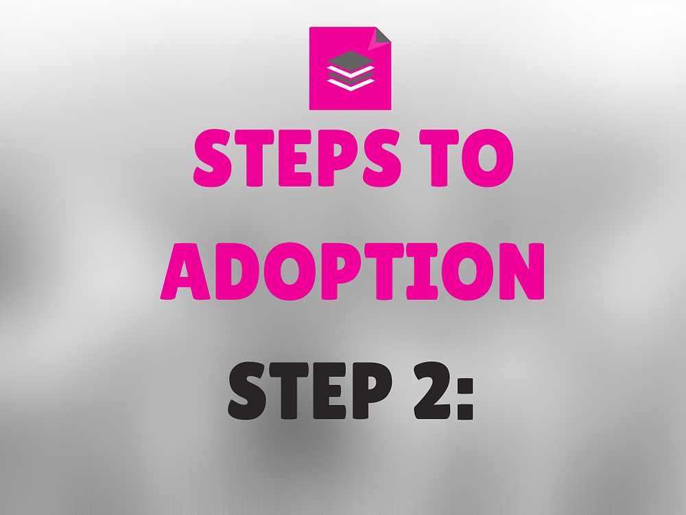 Image says Steps to Adoption in pink and Step 2 in black