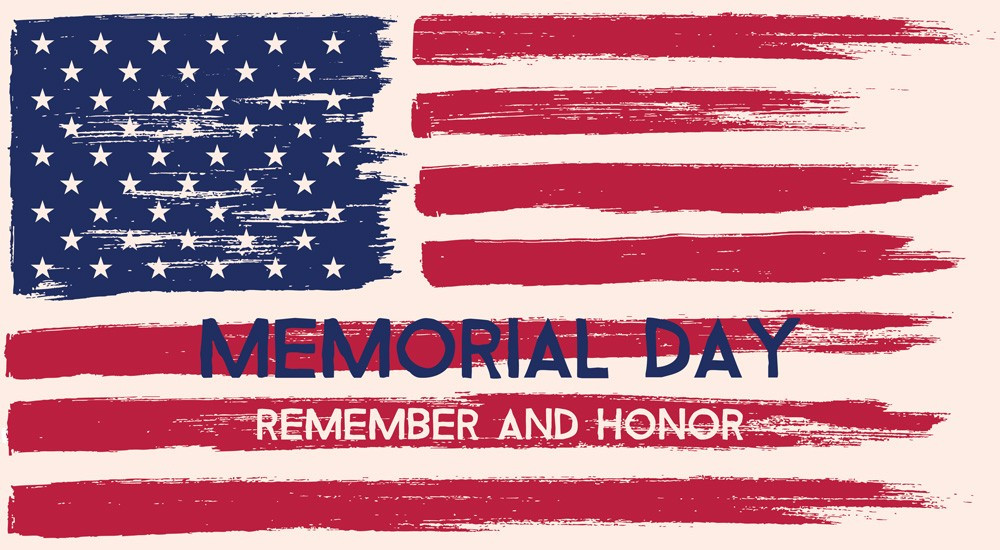 American Flag with Caption Memorial Day Remember and Honor
