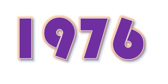 Numbers 1976 in purple color and retro font