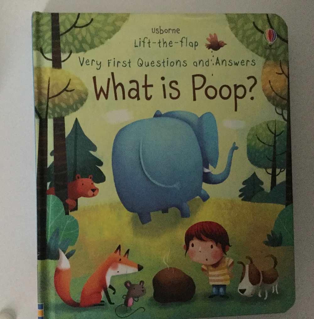 Usborne book What is Poop?  Front cover has elephant, fox, dog and boy looking at some poop (in a cute way)