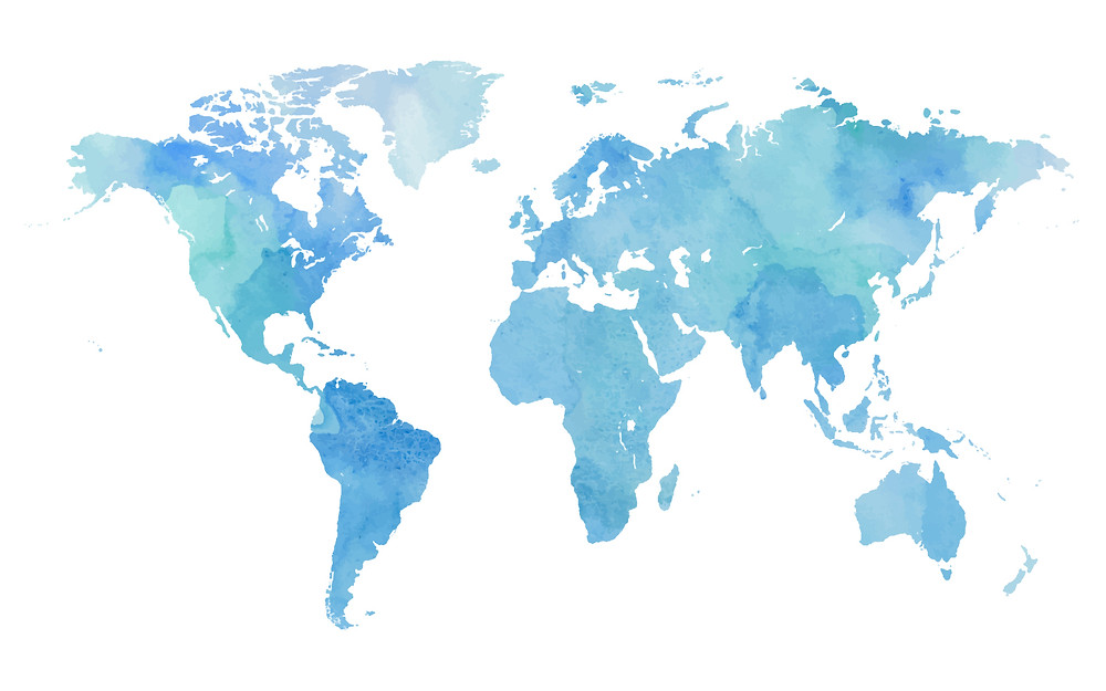 World map with countries in blue and background in white