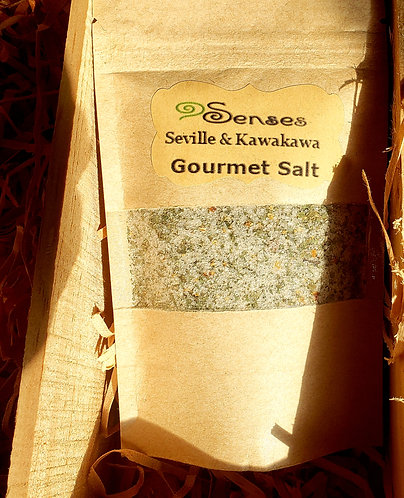 Gourmet salt, flavored salts, organic food, organic herbs, Kawakawa salt