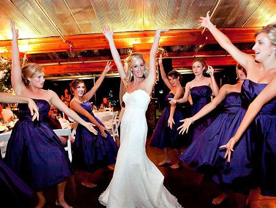 bride and bridesmaid dance