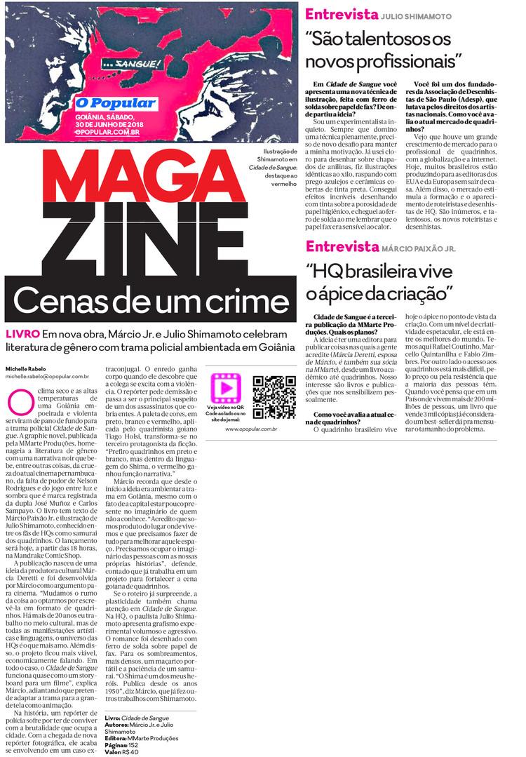 Cidade de Sangue (HQ MMarte) - Jornal O Popular, Capa Caderno Magazine, 30 de junho de 2018