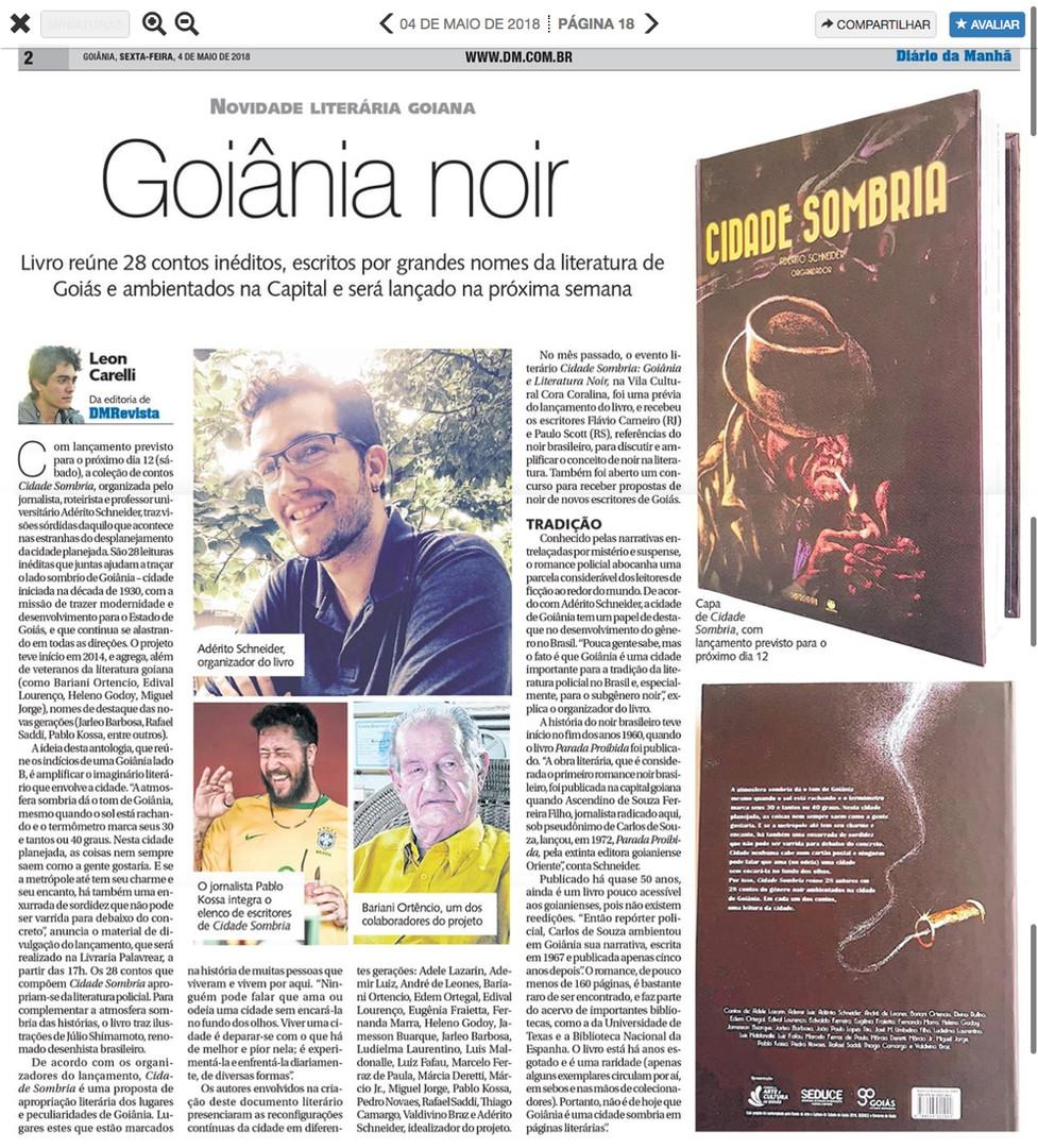 Cidade Sombria (livro MMarte) - Diário da Manhã - 04 de maio de 2018