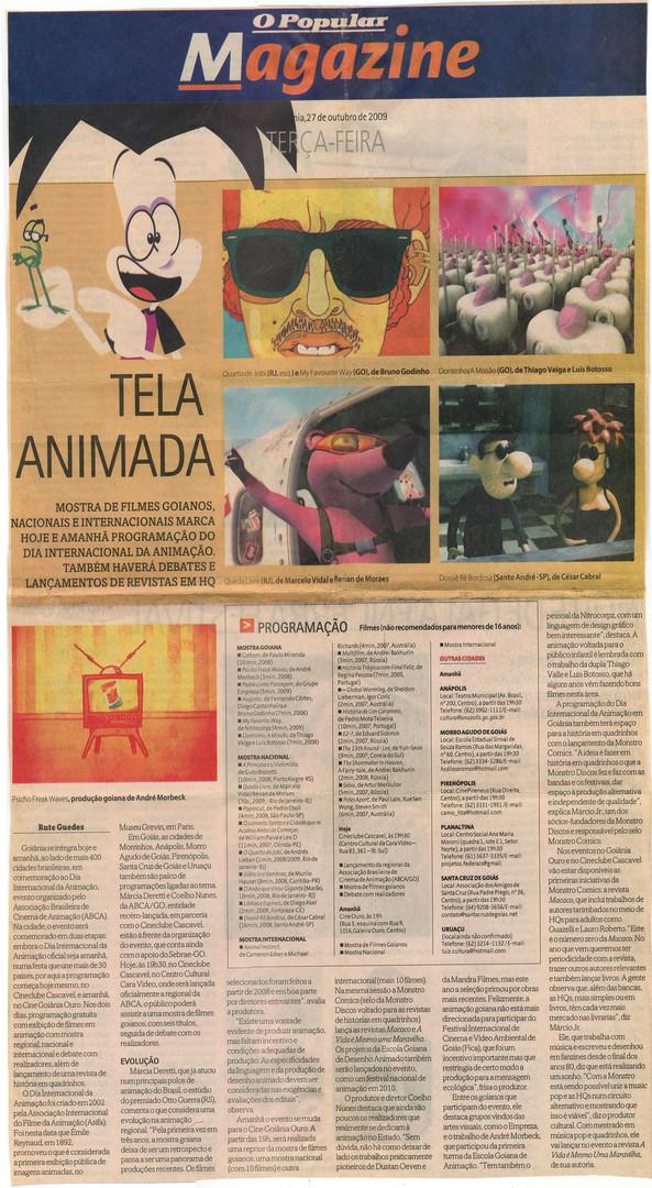 Dia Internacional da Animação - O Popular - 23 de outubro de 2009