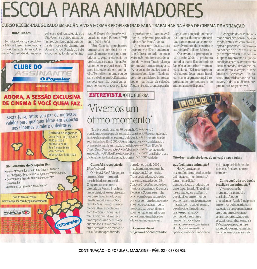 Escola Goiana de Desenho Animado (EGDA) - Jornal O Popular (caderno Magazine - 3 de junho de 2009