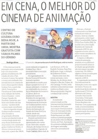 Dia Internacional da Animação - Jornal O Popular - Magazine  - 28 de out de 2008