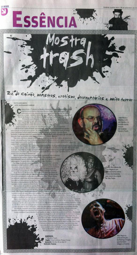 TRASH - Jornal O hoje - 18 de setembro de 2013