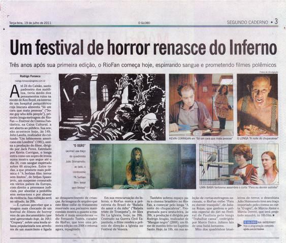 Filme O Ogro - Jornal O Globo - 19 de julho de 2011