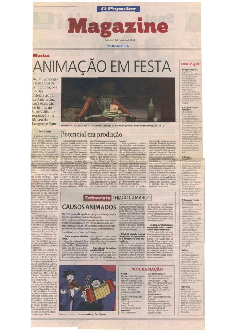 Dia Internacional da Animação - Jornal O Popular (Capa Caderno Magazine) - 28 de outubro de 2014