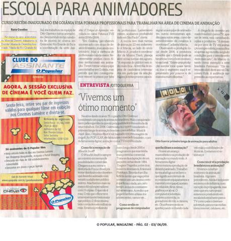 Escola Goiana de Desenho Animado (EGDA) - Jornal O Popular (capa do caderno Magazine - 3 de junho de 2009