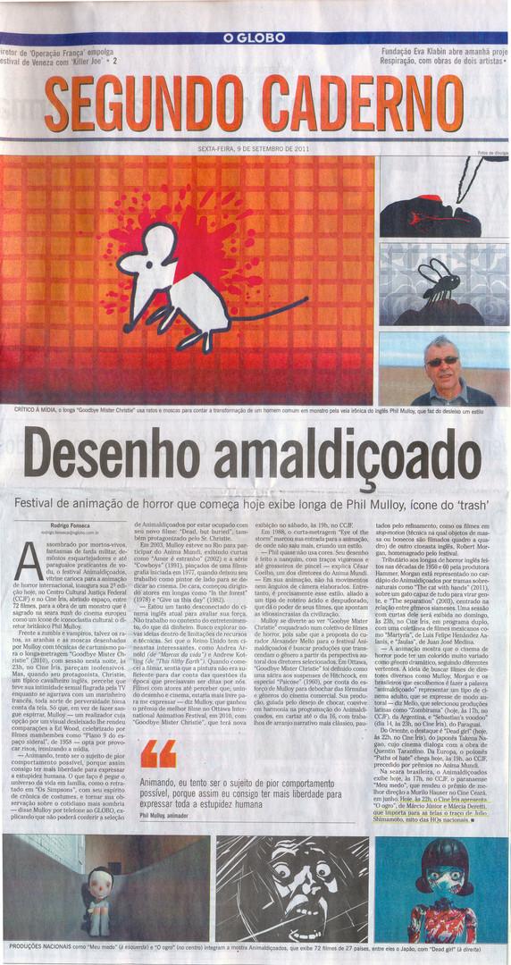 Filme O Ogro -  Capa Segundo Caderno do Jornal O Globo - 9 de setembro de 2011