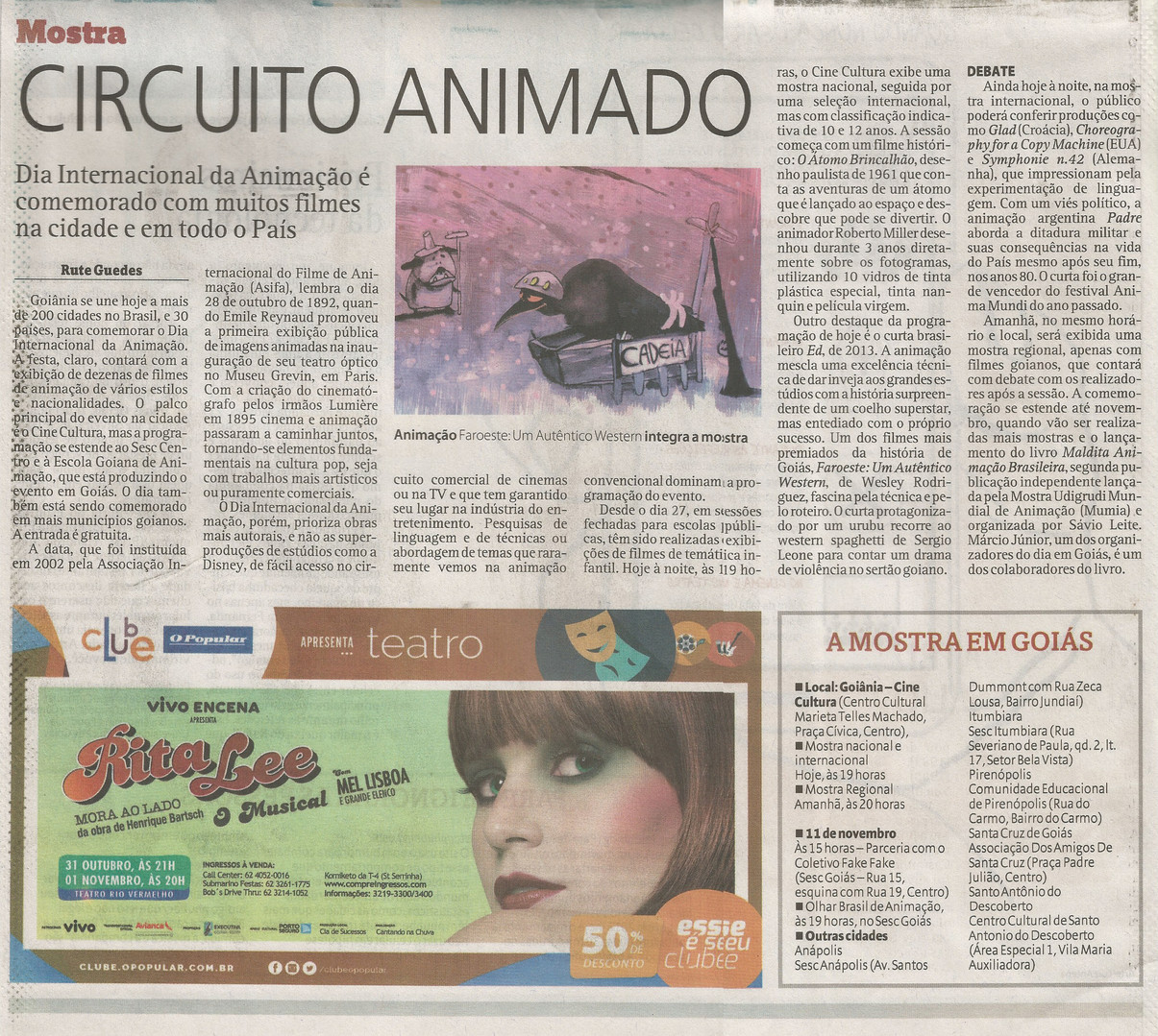 Dia Internacional da Animação - Jornal O Popular - 28 de outubro de 2015