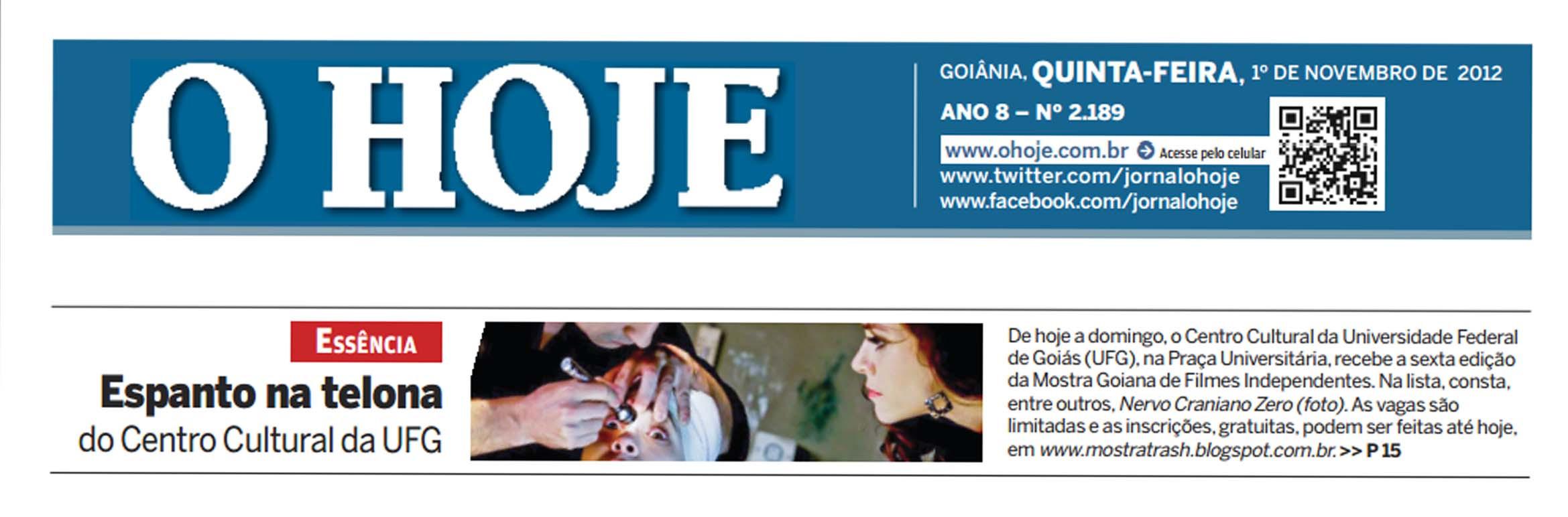 TRASH - Jornal O Hoje (chamada de capa) - 2 de novembro de 2012