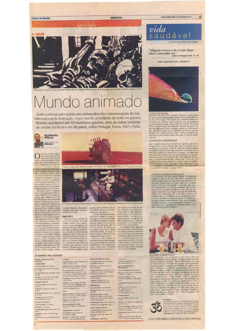Dia Internacional da Animação - Diário da Manhã - 28 de outubro de 2011