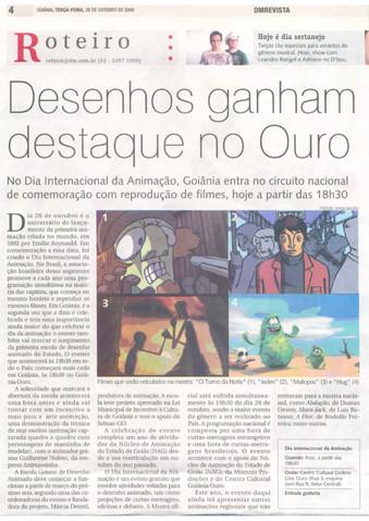 Dia Internacional da Animação - Diário da Manhã  - 28 de outubro de 2008
