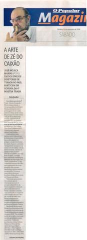 Mostra TRASH - Jornal O Popular - Capa do Caderno Magazine - 20 de setembro de 2008