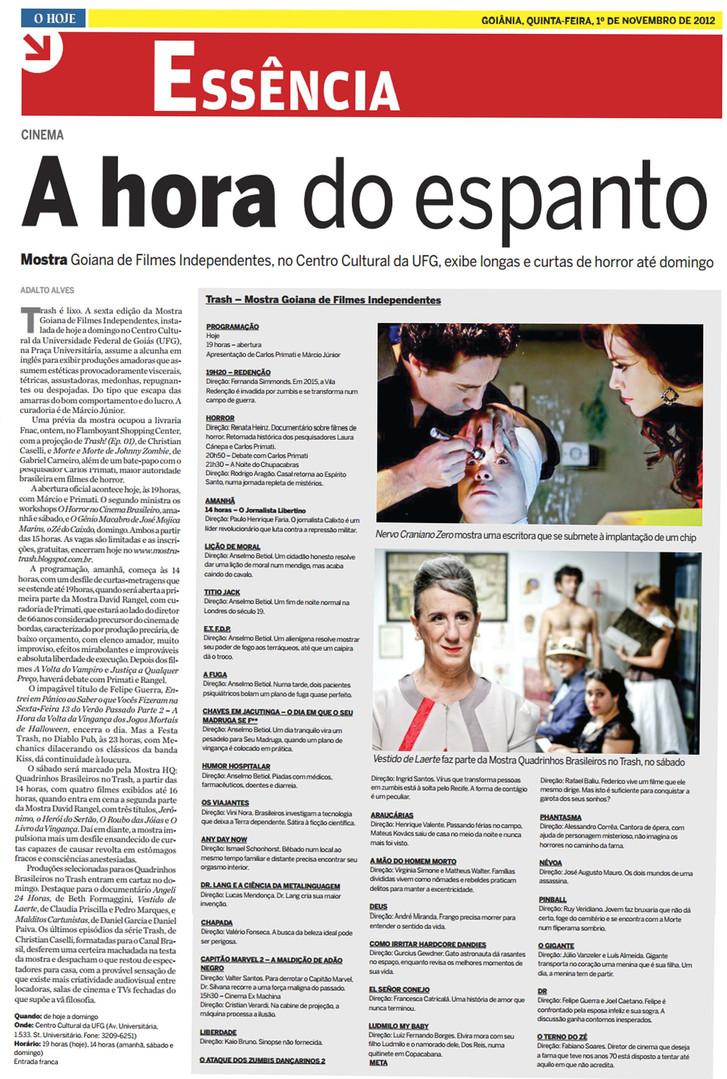 TRASH - Jornal O Hoje (Caderno Essência) - 2 de novembro de 2012