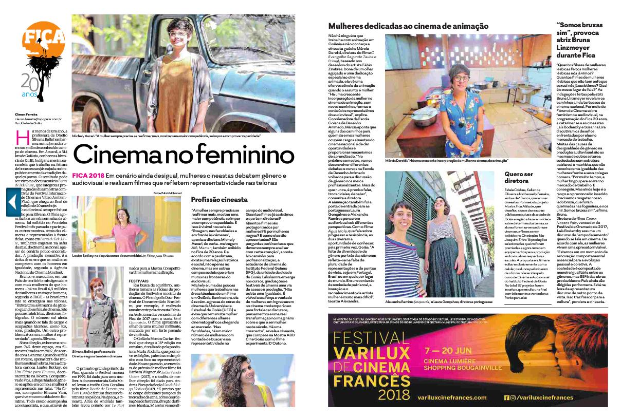 Mulheres no Cinema - FICA - Caderno Magazine - Jornal O Popular - Junho de 2018