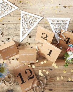 Wedding table numbers and place cards