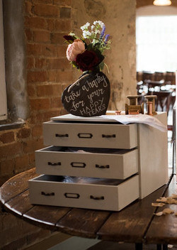 Grey wooden drawers