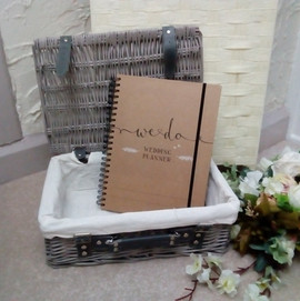 Grey wicker hamper