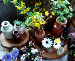 Rustic stoneware jars and bottles