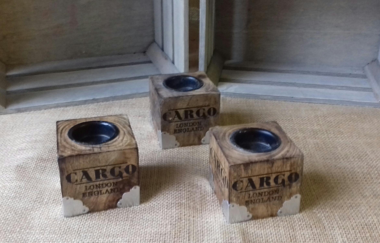 cargo wooden candleholders