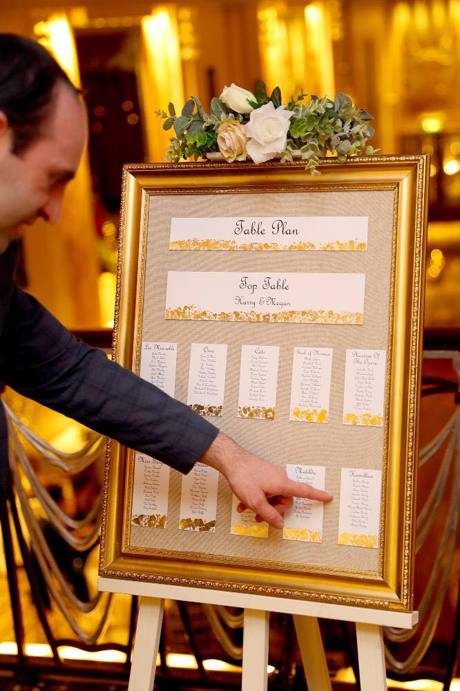 Gold leaf edged seating plan